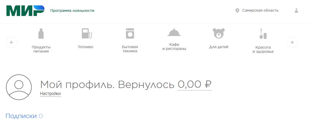личный кабинет на сайте privetmir.ru - профиль пользователя и баланс кэшбэк
